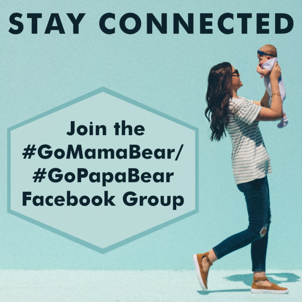 GoMamaBear Facebook Group prompt. Mom holding baby