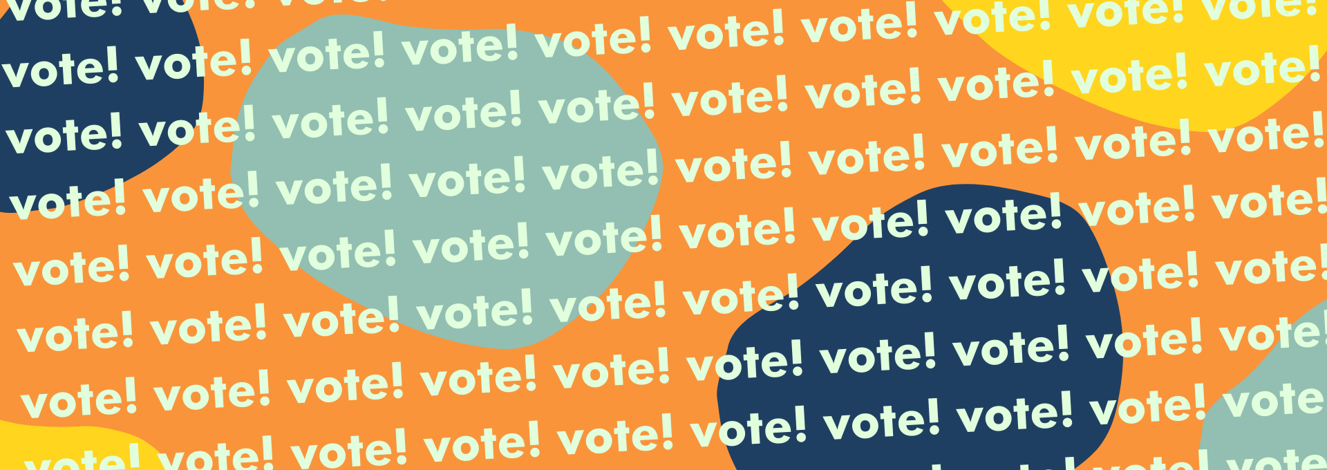 A colourful graphic with the word vote.